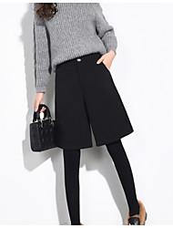 Feminino Simples Cintura Alta Sem Elasticidade Shorts Baggy Chinos Calças,Shorts Baggy Chinos Sólido