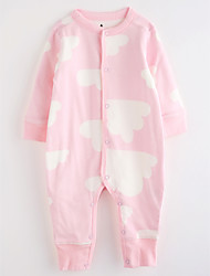 Baby Patterned One-Pieces,Cotton Fall/Autumn Long Sleeves Blushing Pink