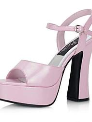 preiswerte -Damen Schuhe PU Sommer Herbst Fersenriemen Pumps Sandalen Blockabsatz Runde Zehe für Party & Festivität Weiß Schwarz Rosa