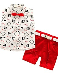 cheap -Boys' Jacquard Cartoon Clothing Set,Cotton All Seasons Sleeveless Casual Street chic Red