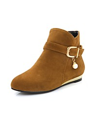 Women's Shoes Nubuck leather Spring Fall Bootie Boots Round Toe Booties/Ankle Boots Imitation Pearl Buckle For Casual Red Yellow Black