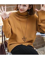 Standard Pullover Da donna-Casual Tinta unita Dolcevita Manica lunga Cotone Acrilico Autunno Inverno Spesso Media elasticità