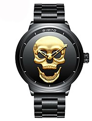 cheap -Men's Quartz Wrist Watch Japanese Chronograph Water Resistant / Water Proof Skull Casual Watch Stainless Steel Band Luxury Skull Unique