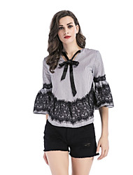 cheap -Women's Flare Sleeve Polyester Shirt - Striped, Lace V Neck