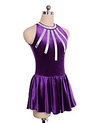 abordables -Robe de Patinage Artistique Femme / Fille Patinage Robes Violet Spandex Non Elastique Utilisation / Exercice Tenue de Patinage Couleur