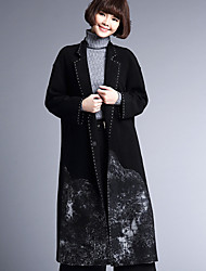 cheap -Women's Going out Casual/Daily Chinoiserie Winter Fall Coat,Solid Notch Lapel Long Sleeve Long Wool Polyester