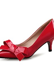 cheap -Women's Shoes Patent Leather Spring Fall Comfort Heels Low Heel Pointed Toe Bowknot for Wedding Party & Evening Almond Red