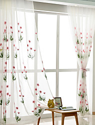 cheap -Rod Pocket Grommet Top Tab Top Double Pleat Pencil Pleat Curtain Country , Embroidery Floral Bedroom Polyester Blend Material Sheer