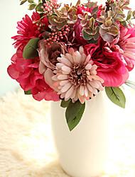 6 ブランチ ポリエステル バラ テーブルトップフラワー 人工花
