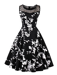 cheap -Women's Party Going out Vintage A Line Sheath Dress,Floral Print Round Neck Knee-length Sleeveless Cotton Tulle All Season Mid Rise
