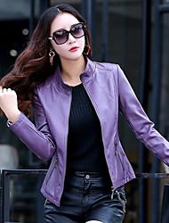 Недорогие -Для женщин На выход Зима Кожаные куртки Круглый вырез,Простой Однотонный Обычная Длинные рукава,Полиуретановая
