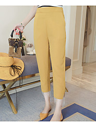 cheap -Women's High Rise Micro-elastic Loose Chinos Pants,Simple Solid Polyester Summer