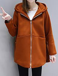 Langt Ærme Hætte Damer Normal Ensfarvet Vinter Efterår Gade I-byen-tøj Frakke,Kashmir Polyester