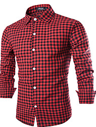 cheap -Men's Daily Casual All Seasons Shirt,Check Shirt Collar Long Sleeve Polyester Opaque