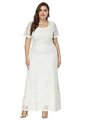 Womenu0027s Plus Size A Line / Lace Dress   Solid Colored White, Lace High Rise  Maxi / Spring / Summer
