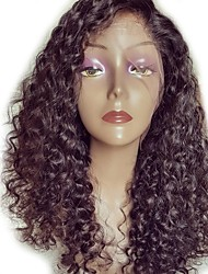 cheap -Remy Human Hair Lace Front Wig Wig Brazilian Hair Jerry Curl / Curly Deep Parting 130% Density Natural Hairline / Unprocessed / With Baby Hair Natural Women's Long Human Hair Lace Wig