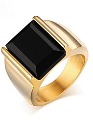cheap -Men's Agate Band Ring - Stainless Steel, Gold Plated Personalized, Fashion 7 / 8 / 9 Golden For Party / Daily / Casual