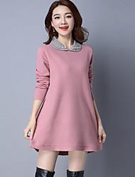 Dámské Jednoduchý Běžné/Denní Standardní Rolák Jednobarevné,Dlouhé rukávy Košilový límec Polyester Zima Podzim Tlusté Lehce elastické