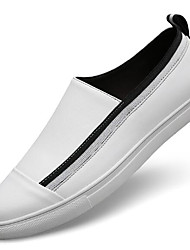 cheap -Men's Shoes Cowhide Spring Fall Comfort Loafers & Slip-Ons for Casual White Black