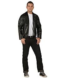 preiswerte -Retro 20er Kostüm Erwachsene Party Kostüme Schwarz Vintage Cosplay Leder Langarm T-shirt Knöchel-Länge