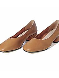 Feminino Sapatos Couro Ecológico Primavera Outono Conforto Saltos Salto Robusto para Casual Preto Marron Amêndoa