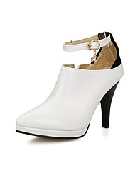 cheap -Women's Shoes Leatherette Winter Fall Fashion Boots Boots Stiletto Heel Round Toe Booties/Ankle Boots Buckle for Casual Dress White Black
