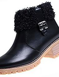 Feminino Sapatos Couro Ecológico Inverno Outono Conforto Botas da Moda Botas Salto Robusto Ponta Redonda Botas Curtas / Ankle para Casual