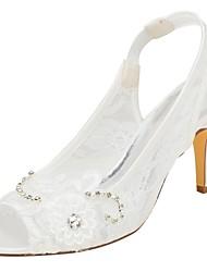 abordables -Femme Chaussures Satin Elastique Eté Escarpin Basique Chaussures de mariage Talon Aiguille Bout ouvert Cristal / Appliques Ivoire