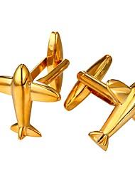 baratos -Aeronave Prata Dourado Botões de Punho Latão Pedaço de Platina Chapeado Dourado Jóias de fantasia Lazer Rua Encontro Homens Jóias de