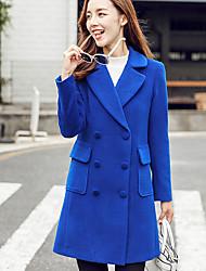 economico -Cappotto Standard Per donna Quotidiano Vintage Autunno, Tinta unita A V Poliestere Con perline