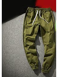 Masculino Simples Cintura Média Micro-Elástica Reto Calças,Sólido Algodão Outono