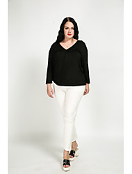 economico -T-shirt Per donna Vintage Incrociato, Tinta unita A V