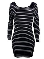 economico -T Shirt Vestito Da donna-Casual Per uscire Semplice Vintage Romantico A strisce Monocolore Rotonda Asimmetrico Maniche lunghe Poliestere
