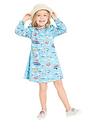 cheap -Girl's Daily Holiday Print Dress,Cotton All Seasons Long Sleeves Cute Casual Blue