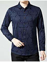 Langt Ærme Krave Medium Herrer Trykt mønster Forår Efterår Afslappet Daglig Skjorte,Polyester