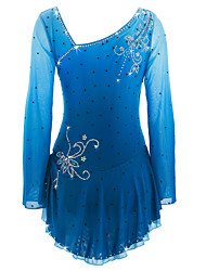 cheap -Figure Skating Dress Women's Girls' Ice Skating Dress Azure Spandex Rhinestone High Elasticity Performance Skating Wear Handmade Ice