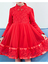 cheap -Girl's Holiday Going out Solid Dress,Cotton Spring Fall Long Sleeve Princess Red Blushing Pink