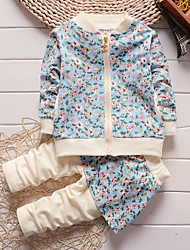 cheap -Girls' Daily Going out Floral Cartoon Clothing Set,Cotton All Seasons Long Sleeve Cute Casual Active Brown Green