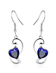 cheap -Women's Drop Earrings Synthetic Sapphire Simple Fashion Elegant Copper Glass Heart Jewelry Wedding Party