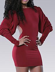 economico -Attillato Fodero Vestito Da donna-Quotidiano Per uscire Vintage Casual Sensuale Tinta unita Rotonda Mini Maniche lunghe Cotone Estate