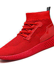 cheap -Men's Shoes Rubber Spring Fall Comfort Athletic Shoes Walking Shoes Booties/Ankle Boots Ribbon Tie for Outdoor Black/Green Black/Red Red