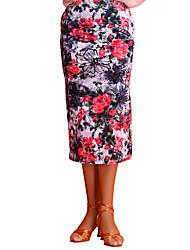 abordables -Baile Latino Pantalones y Faldas Mujer Actuación Chinlon Diseño / Estampado Sin mangas Cintura Media Faldas