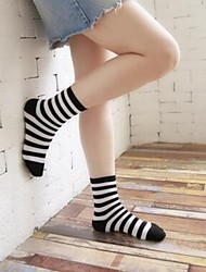 cheap -Women's Hosiery Warm Socks,Cotton Striped Print 2pcs Black White