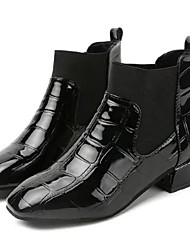 cheap -Women's Shoes Patent Leather Winter Fall Fashion Boots Boots Flat Round Toe Mid-Calf Boots for Casual Black