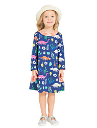 Girl's Daily Holiday Print Dress,Cotton All Seasons Long Sleeves Cute Casual Navy Blue