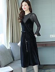 Set Robes Costumes Femme,Couleur Pleine Décontracté / Quotidien simple Hiver Automne Manches longues Col Arrondi Couleur unie Coton