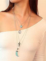Недорогие -Жен. В форме свечи MOON Многослойный Крупногабаритные Ожерелья с подвесками Заявление ожерелья Бирюза Бирюза Сплав Ожерелья с подвесками