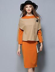 Set Robes Costumes Femme,Couleur Pleine Décontracté / Quotidien simple Automne Manches Longues Col Arrondi Couleur unie Coton
