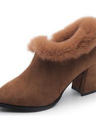 Feminino Sapatos Pele Nobuck Inverno Outono Conforto Curta/Ankle Botas Salto Robusto Botas Curtas / Ankle para Casual Preto Marron Verde