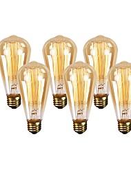 abordables -6pcs 60W E26 ST64 Blanc Chaud 2200 K Rétro Intensité Réglable Décorative Ampoule incandescente Edison Vintage AC 110-130 V